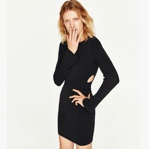 ZARA Knit Cutout Black Long Sleeve Dress Sz M